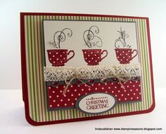 Love the mugs, the ribbon, and the swirls on this card.  Everything on this is great! Diy Cards, Paper Cards, Cute Cards, Holiday Cards, Christmas Cards, Kaffee Oder Tee, Christmas Coffee, Creative Cards, Cuppa Tea
