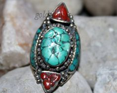 Coral Turquoise Ring Tibet Ring Nepal Ring Tribal by goldenlines