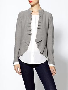 14 Sleek and Sophisticated Ruffles to Add to Your Shopping List: This Rachel Zoe ruffle cardigan ($50, originally $79) would be a great addition to your work wardrobe. It also comes in dark gray and red.