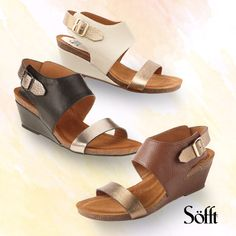 Let these Sofft Vanita wedge sandals give you the height you want without discomfort. A great pick for any spring or summer outfit, whether your looking for heels to wear to dinner, work or even a wedding.