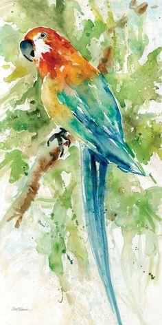Palm Island Home Island Beauty II Wandkunst - Art - Canvas Art Prints, Painting Prints, Canvas Wall Art, Painted Wall Art, Watercolor Bird, Watercolor Paintings, Simple Watercolor, Art Paintings, Art Inspiration Drawing