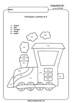Vlak. Omaľovánka. Diagram, Coding, Printables, Education, Jar, Color, Print Templates, Colour, Onderwijs
