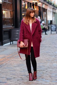 Jonathan Saunders Edition at Debenhams berry coloured coucle coat, Black skinny jeans, cream jumper, Zara burgundy bag, Wine ankle boots. EJSTYLE - Emma Hill - Blogger OOTD London Street style