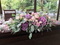 #amandanrise#novarese#vressetrose#wedding #mixcolor #maintable #natural #vintage # flower #bridal#アマンダンライズ#ノバレーゼ#ブレスエットロゼ#ウエディング #ミックスカラー#メインテーブル#ナチュラル#花 #ブライダル#結婚式 Wedding Table, Our Wedding, Sweetheart Table, Table Flowers, Wedding Coordinator, Wedding Images, Hydrangea, Flower Designs, Purple