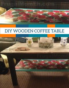 This DIY wooden coffee table is the perfect project for a budget-savvy mom. You can make it with existing furniture and repurposed wood!