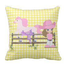 Little Cowgirl With Horse Fence and Saddle Throw Pillow