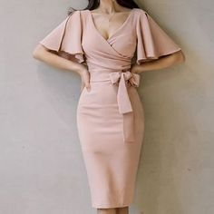 Mode Outfits, Dress Outfits, Fashion Outfits, Bodycon Dress With Sleeves, Sheath Dress, Party Dresses With Sleeves, Knee Length Dresses, High Waist Dresses, Below The Knee Dresses