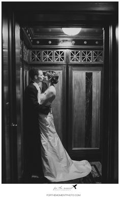Romantic Bride & Groom Elevator Shot at The Thaxton Speakeasy St Louis Mo | Black, white, pink & gold 1920's. Yes.