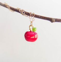 Cute Apple Necklace . 14k gold filled chain by CocoroJewelry