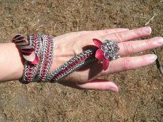 Chainmail Dragon Handflower / Slave Bracelet / Lariat