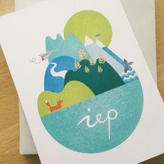 Illustration, birth announcement, work, little world, fox, whale, geboortekaartje, made by Studio Enkelvoud