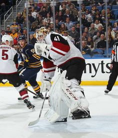 BUFFALO, NY - MARCH 02: Mike Smith #41 of the Arizona Coyotes makes a first period save against the Buffalo Sabres during an NHL game at the KeyBank Center on March 2, 2017 in Buffalo, New York. (Photo by Bill Wippert/NHLI via Getty Images)