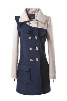 Flounced Shoulder Color Block Wool-blend Coat $159.00..I WANT THIS COAT!!!