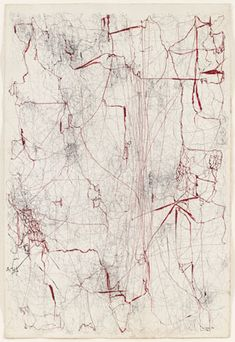 Sin titulo (Sermón de la sangre) (Untitled [Sermon of the Blood]): 1962 by Leon Ferrari (Museum of Modern Art, NYC) Lace Drawing, Painting & Drawing, Moma, Abstract Expressionism, Abstract Art, Abstract Paintings, Ferrari, Avant Garde Artists, Art Walk