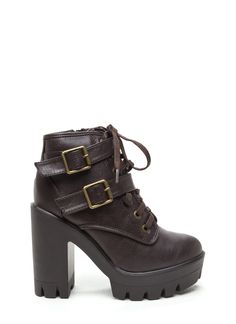 It's Lug Faux Leather Booties BROWN