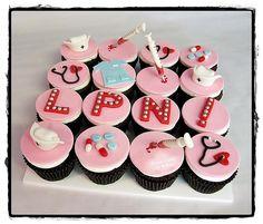 LPN Graduation - Nursing Cupcakes love these! Nurse Cupcakes, Kid Cupcakes, Graduation Cupcakes, Graduation Party Decor, Grad Parties, Cupcake Cakes, Graduation Ideas, Fondant Cupcakes, Graduation Pictures