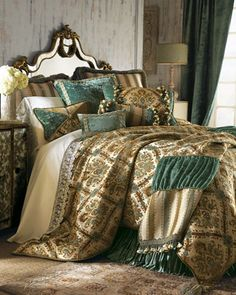 """Wouldn't you love to go to an old Victorian B and cozy up in something like this!!?... I would // Matouk """"Azure Seas"""" Bed Linens - Horchow"""