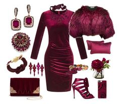 """""""Cranberry Crush"""" by yournightnurse ❤ liked on Polyvore featuring La Regale, West Coast Jewelry, Napier, WithChic, Tom Ford, Lanvin, Chico's, Casetify and Oscar de la Renta"""