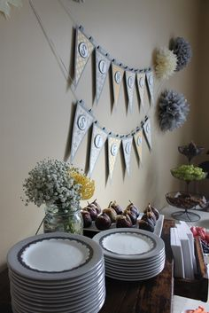 """Photo 8 of 43: Yellow, grey and white brunch / Baby Shower/Sip & See """"Hello Baby"""" 