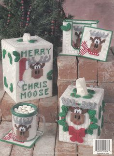 Yuletide A-Moose-Ment, Christmas Decor Plastic Canvas Pattern Booklet TNS 983044 - Plastic Canvas Patterns Plastic Canvas Books, Plastic Canvas Coasters, Plastic Canvas Tissue Boxes, Plastic Canvas Christmas, Plastic Canvas Crafts, Plastic Canvas Patterns, Christmas Crafts, Christmas Decorations, Xmas