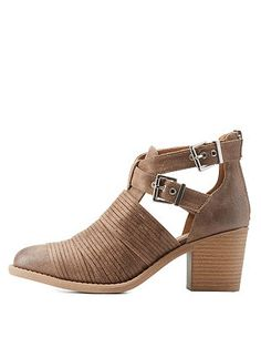 Qupid Stacked-Strap Belted Ankle Booties: Charlotte Russe