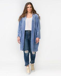 Duster coat σε velours υφή — mat. XXL sizes — Γυναικεία Ρούχα, Μεγάλα Μεγέθη