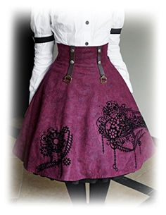 cool Steampunk Flockings High Waist 2-way Knee Length Gathered Buckle Skirt* Plum (Medium)