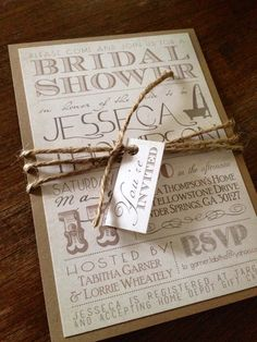 vintage rustic twine bridal shower invitation can also be converted to a wedding invitation