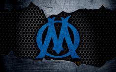 Download wallpapers Olympique Marseille, 4k, Liga 1, logo, grunge, soccer, football club, Marseille, metal texture, Ligue 1, art, Marseille FC