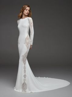 Long Sleeves Crepe Beaded Detailing Sheath Wedding Dress by Pronovias - Image 1 zoomed in Boho Wedding Guest Dress, Boho Wedding Dress With Sleeves, Vintage Style Wedding Dresses, Wedding Dress Gallery, Minimalist Wedding Dresses, Long Wedding Dresses, Long Sleeve Wedding, Bridal Dresses, Wedding Gowns