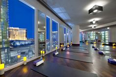 A good workout comes with a great view at the Mandarin Oriental Las Vegas. The hotel's fitness center and yoga studio both overlook the city, providing a sanctuary away from the bustling strip. #gyms #lasvegas