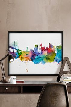 Detroit skyline Detroit watercolor Detroit poster by iPrintPoster Philadelphia Skyline, Atlanta Skyline, London Skyline, Baltimore Skyline, Louisville Skyline, Milwaukee Skyline, Vancouver Skyline, Tokyo Skyline, Cincinnati Skyline