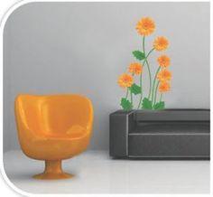 Artistic Wall Art Decal Sticker - Orange Flowers