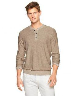Sweater Gap Men's Linen-Cotton Henley Sweater Oatmeal Heather #Sweater #Gap