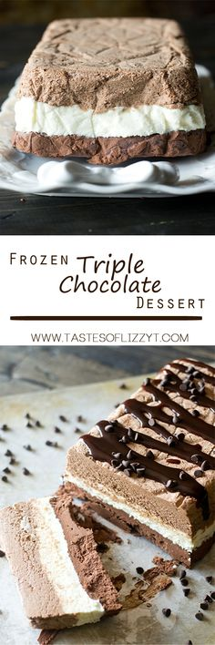 Triple Chocolate Frozen Dessert Recipe - Tastes of Lizzy T. Three layers of whipped chocolate ganache are frozen together in this Triple Chocolate Frozen Dessert. This frosty dessert is creamy and smooth with an intense chocolate flavor. #ad #bh
