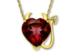 Be a total heart breaker with this sassy pendant. Make a playful reference to your heart-stealing status in this charming 3 3/4 ct garnet devil heart pendant with diamond accents in 10K gold. A must-have pendant for your jewelry box! Comes with a 10k gold 18-inch rope chain.