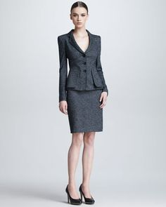 Armani Collezioni Herringbone Three-Button Jacket & Pencil Skirt - Neiman Marcus