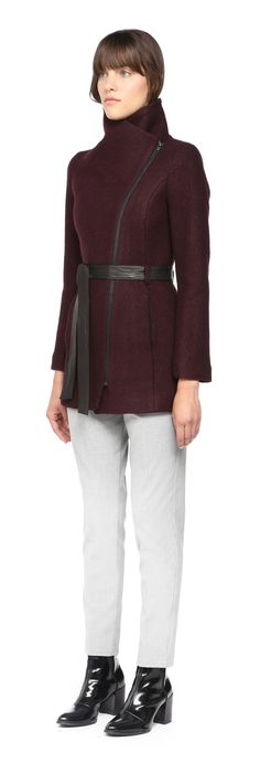 Soïa & Kyo - DREW WINE FITTED WOOL JACKET FOR WOMEN WITH LEATHER BELT AT WAIST