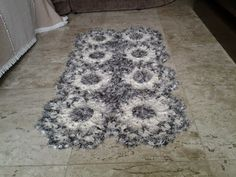 Tapetesa: Tapete de crochê Diamante Negro__ criado e executa...