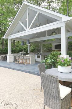 Combination Outdoor kitchen and Pool House Pavilion (backyard gazebo and pool) Backyard Gazebo, Backyard Patio Designs, Patio Ideas, Gazebo Ideas, Pergola Kits, Pool House Designs, Backyard Ideas, Modern Backyard, Patio Overhang Ideas