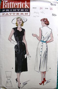 Vintage 50s Butterick Pattern 6119 STUNNING Sheath by anne8865, $39.00