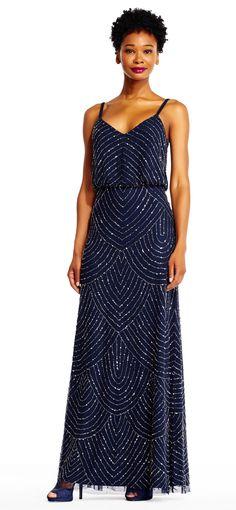 Adrianna Papell | Art Deco Beaded Blouson Gown