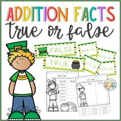 An addition hands-on activity that students have to sort facts into true or false statements. It has 3 sets of 12 cards with facts and two types of worksheets, one cut and paste, and one to fix the sentences, for each set. Hands On Learning, Hands On Activities, Learning Activities, Addition Facts, Addition And Subtraction, Elementary Math, Kindergarten Math, Vocabulary Cards, Math Resources