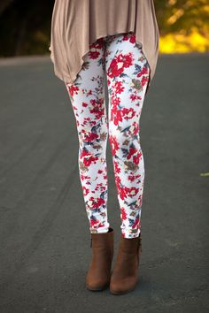 My Sisters Closet - Red Floral Leggings, $10.00 (http://www.mysisterscloset-boutique.com/red-floral-leggings/)