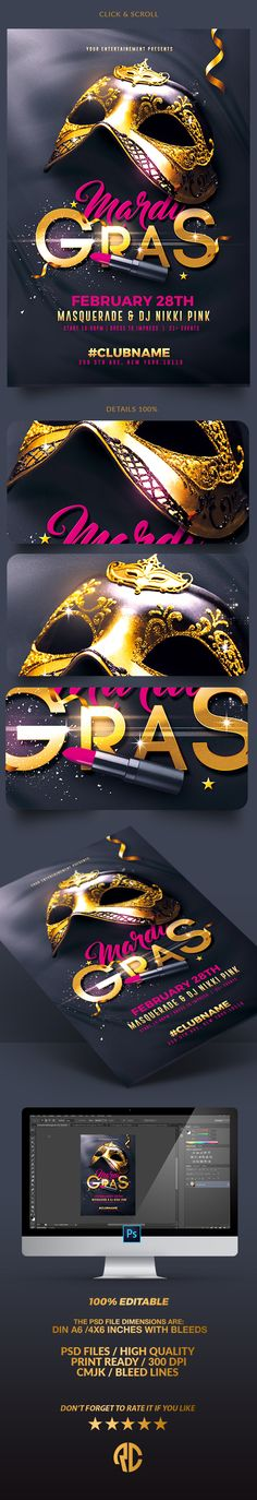 Classy Mardi Gras | Psd Template Exclusive Template, Very easy to Edit and Creative Design perfect to promote your Event !  #flyer #party #template #mardigras #carnival #creativemarket