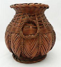 Japanese Antique Bulb Form Bamboo Ikebana Basket w/ Handles