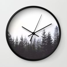 Buy Redwood Wild Forest Wall Clock by judithhoy. Worldwide shipping available at #society6 #walldecor #forest #blackandwhite #landscape #homedecor #decorideas #homeoffice