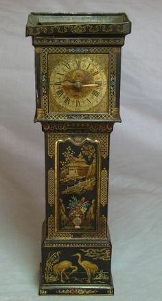 """RARE VINTAGE ANTIQUE HUNTLEYPALMERS""""GRANDFATHER CLOCK""""FIGURAL BISCUIT TIN C1929 $249.99"""