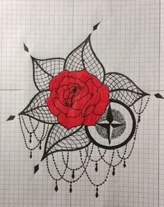 rose compass dotwork