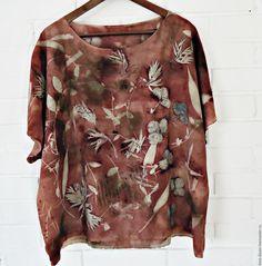 """Купить Блуза """"Клубничка"""" - комбинированный, блузка, блузка женская, блузка летняя, ручное окрашивание"""